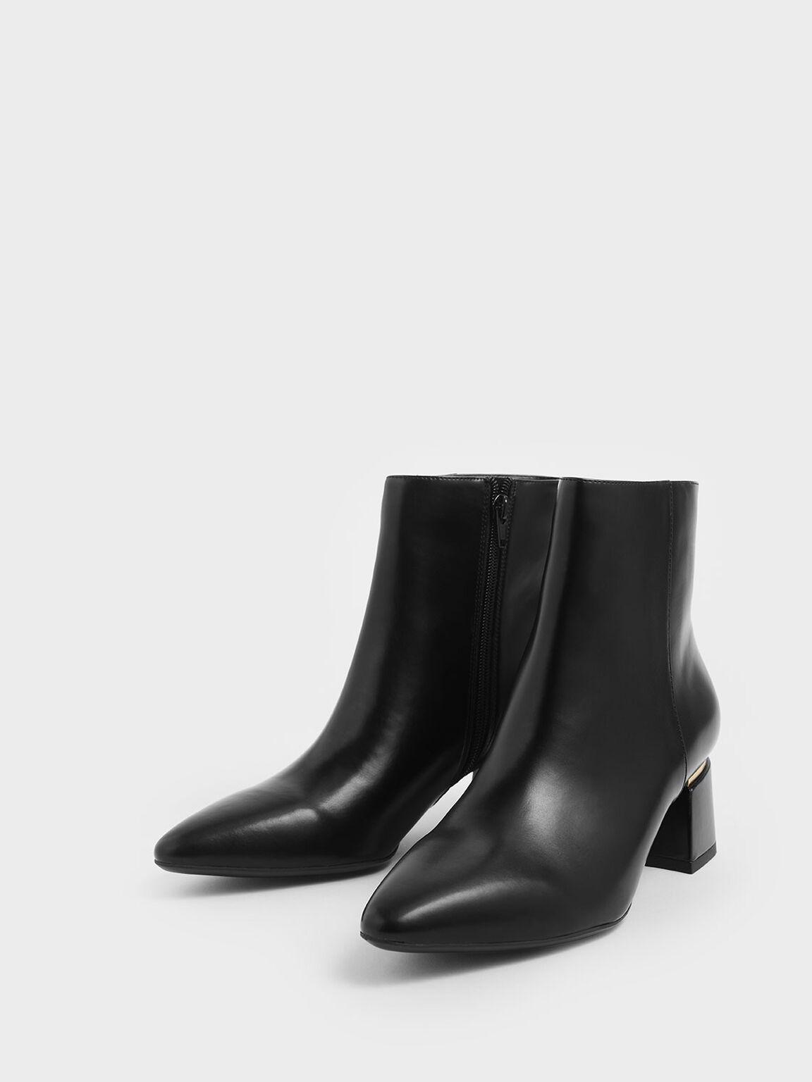 Metal Accent Block Heel Ankle Boots, Black, hi-res