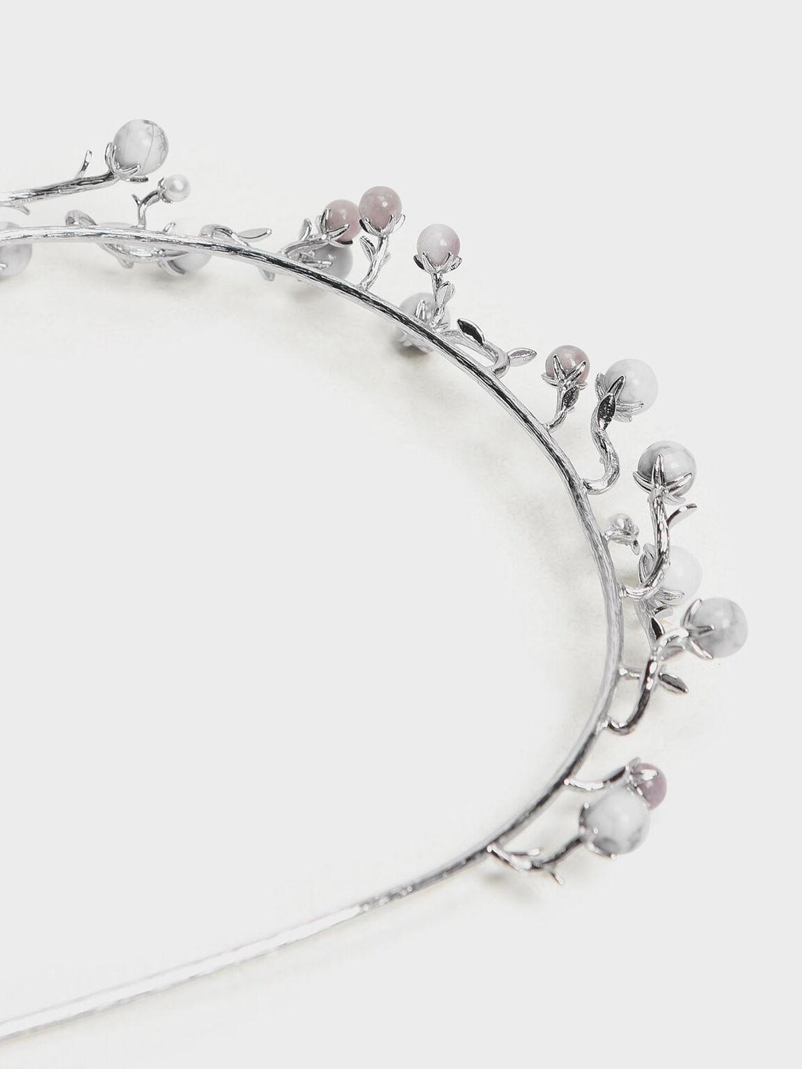 Semi-Precious Stone Headband, White, hi-res