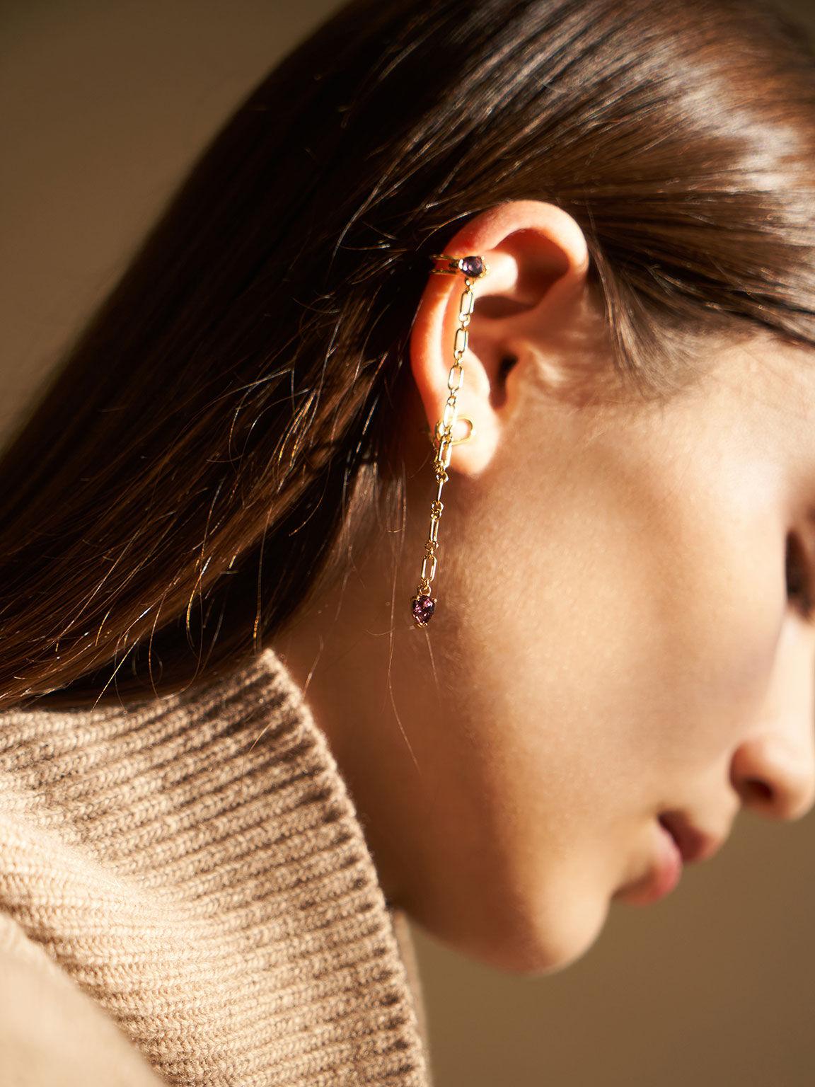 水晶墜飾耳環, 金色, hi-res