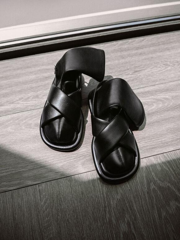 Lucile 平底涼鞋襪靴, 黑色, hi-res