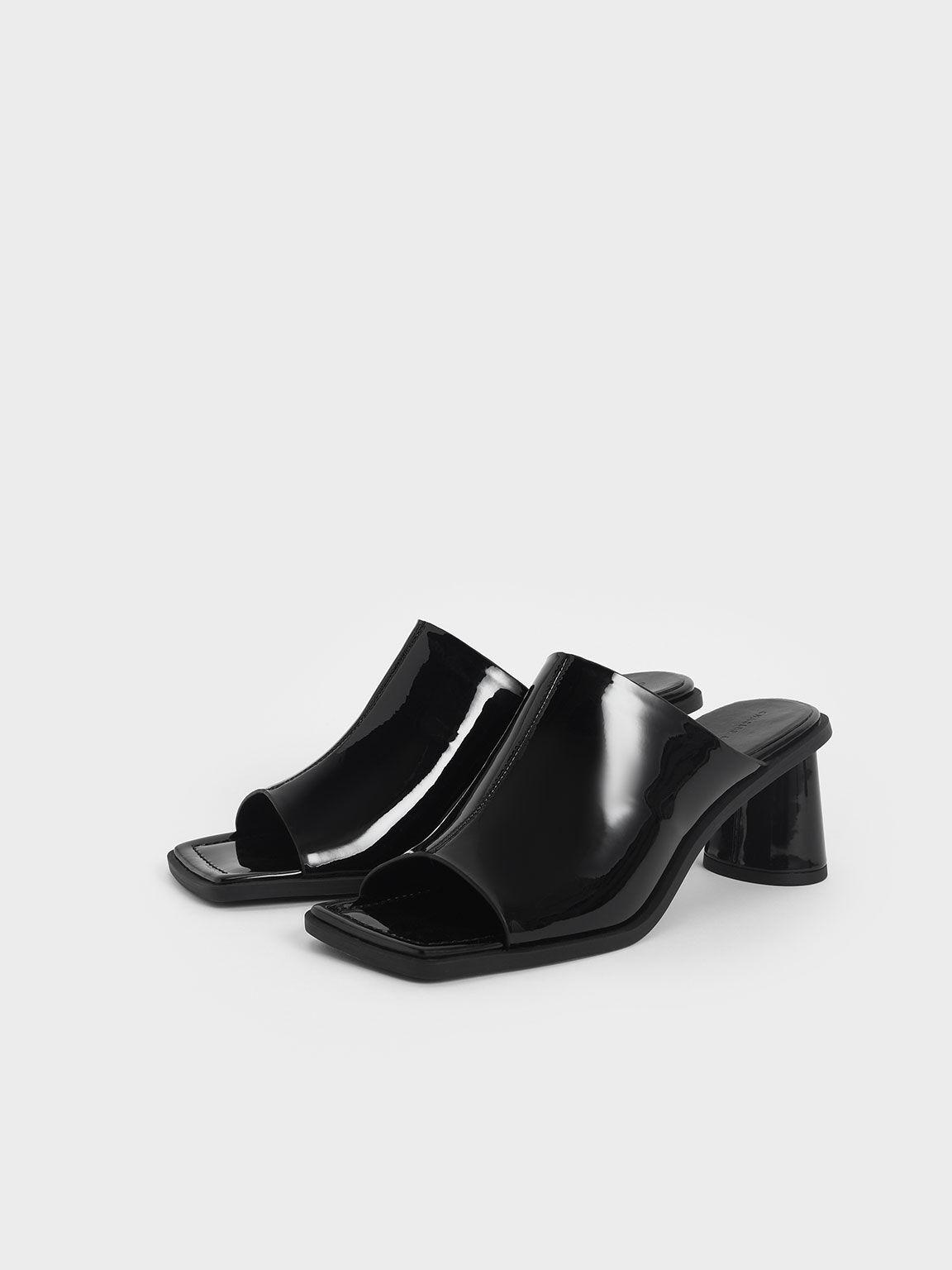 方頭粗跟穆勒拖鞋, 黑色, hi-res