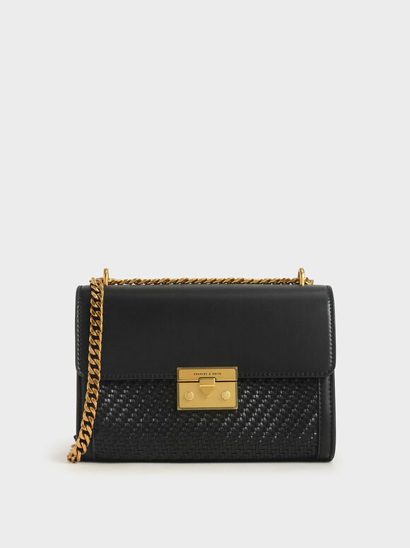 Woven Boxy Chain Strap Bag, Black, hi-res