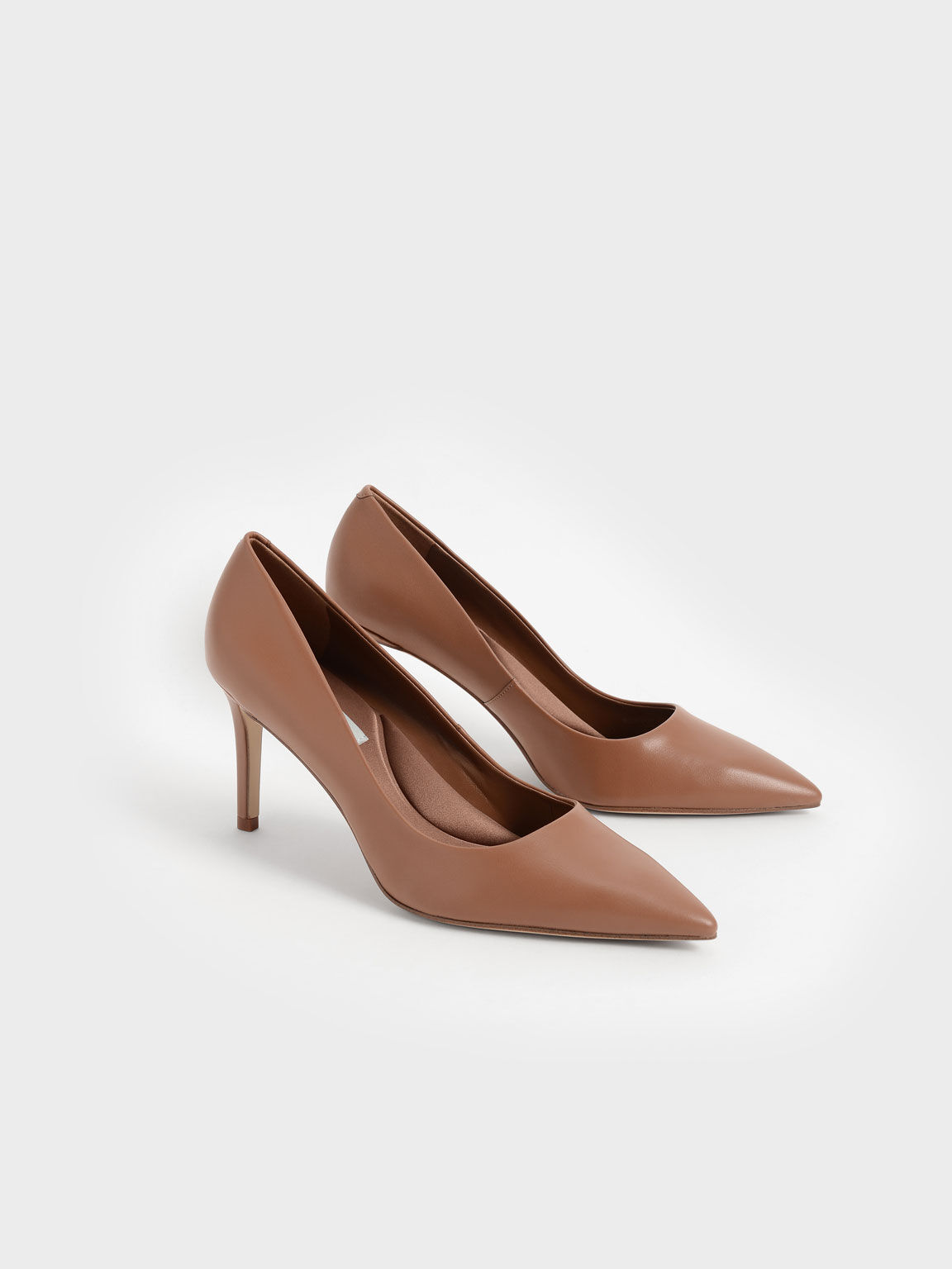 Pointed Toe Stiletto Pumps, Brown, hi-res