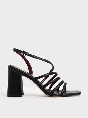 Strappy Chunky Heel Sandals, Black