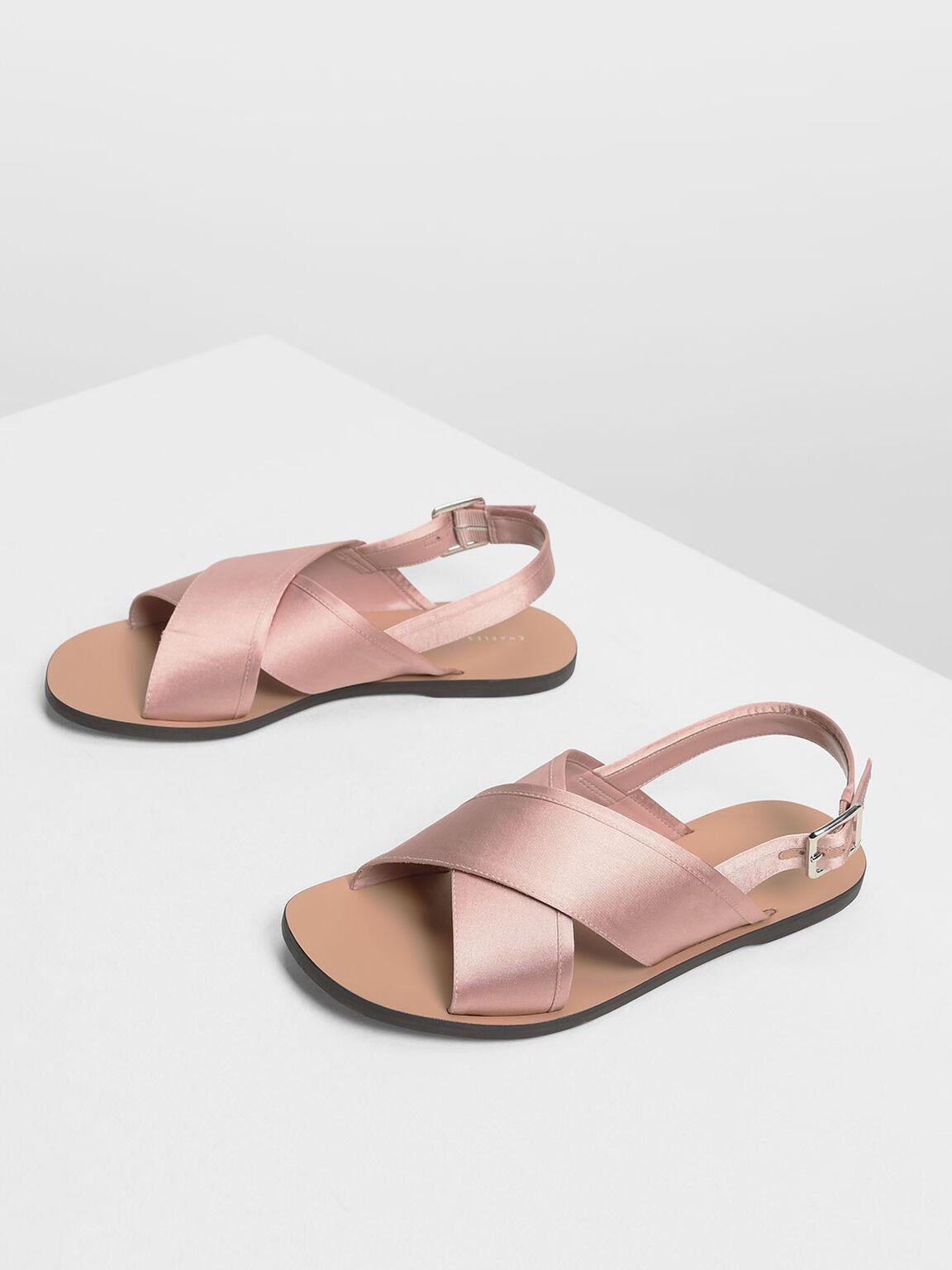 Satin Criss Cross Sandals, Nude, hi-res