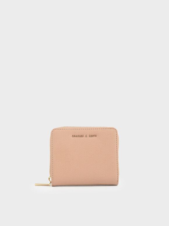 拉鍊式短夾, 嫩粉色, hi-res