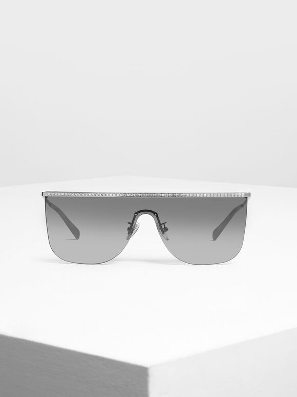 Crystal Embellished Sunglasses, Silver, hi-res