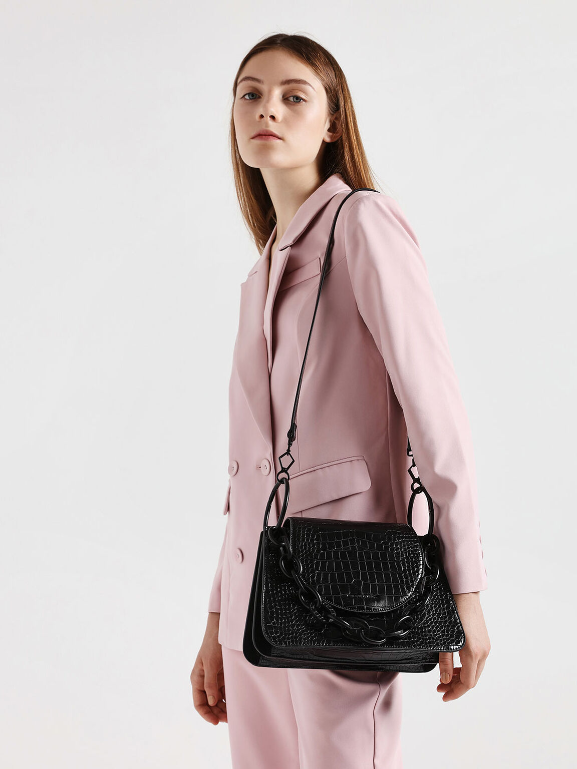 Croc-Effect Chunky Chain Link Shoulder Bag, Black, hi-res