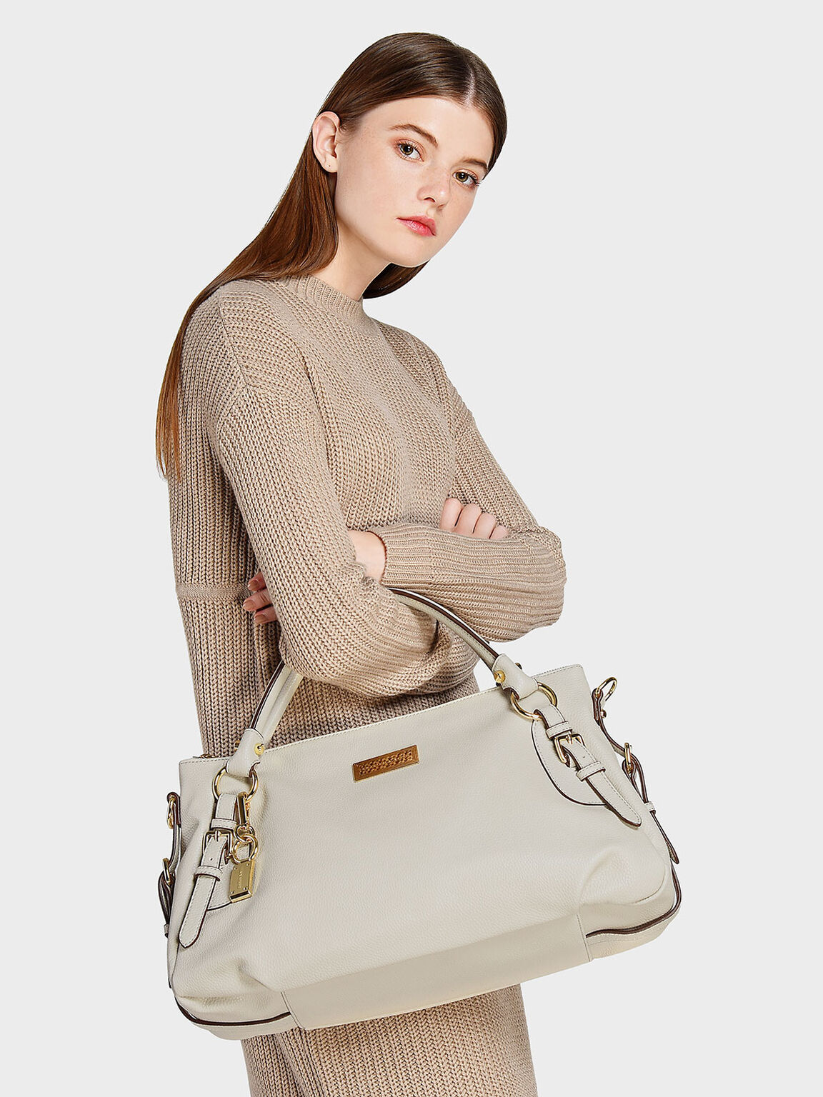 Slouchy Handbag, Beige, hi-res