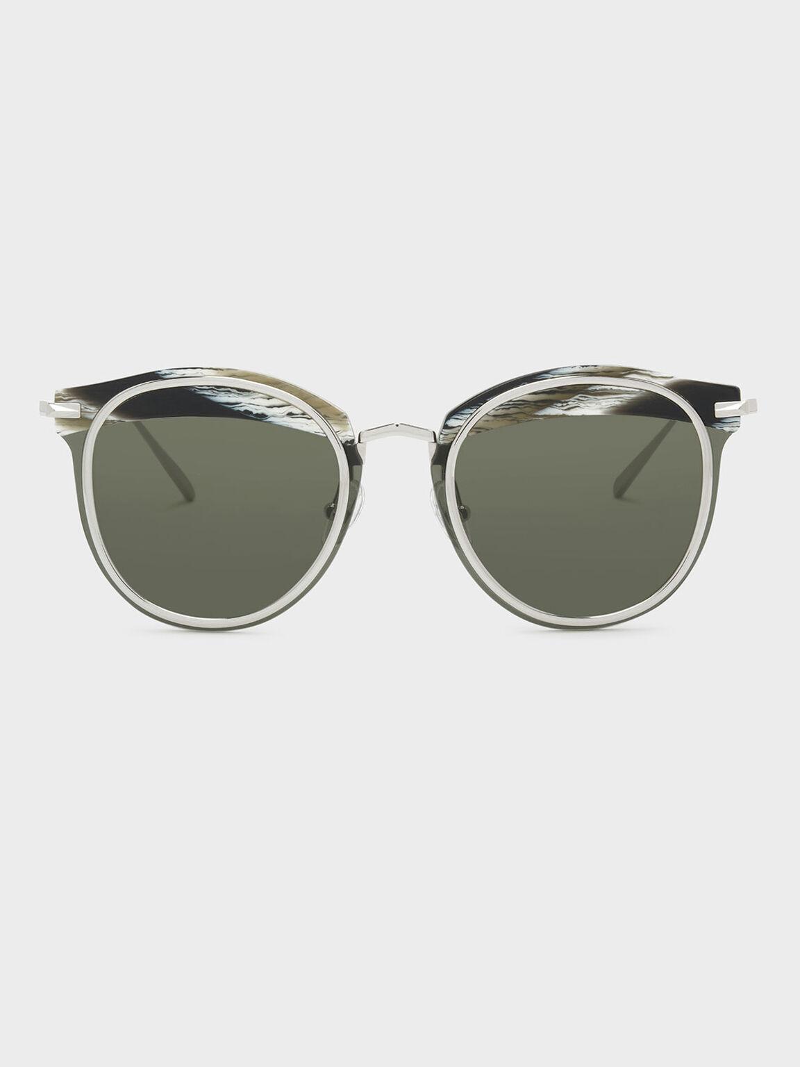 Acetate Frame Sunglasses, Grey, hi-res