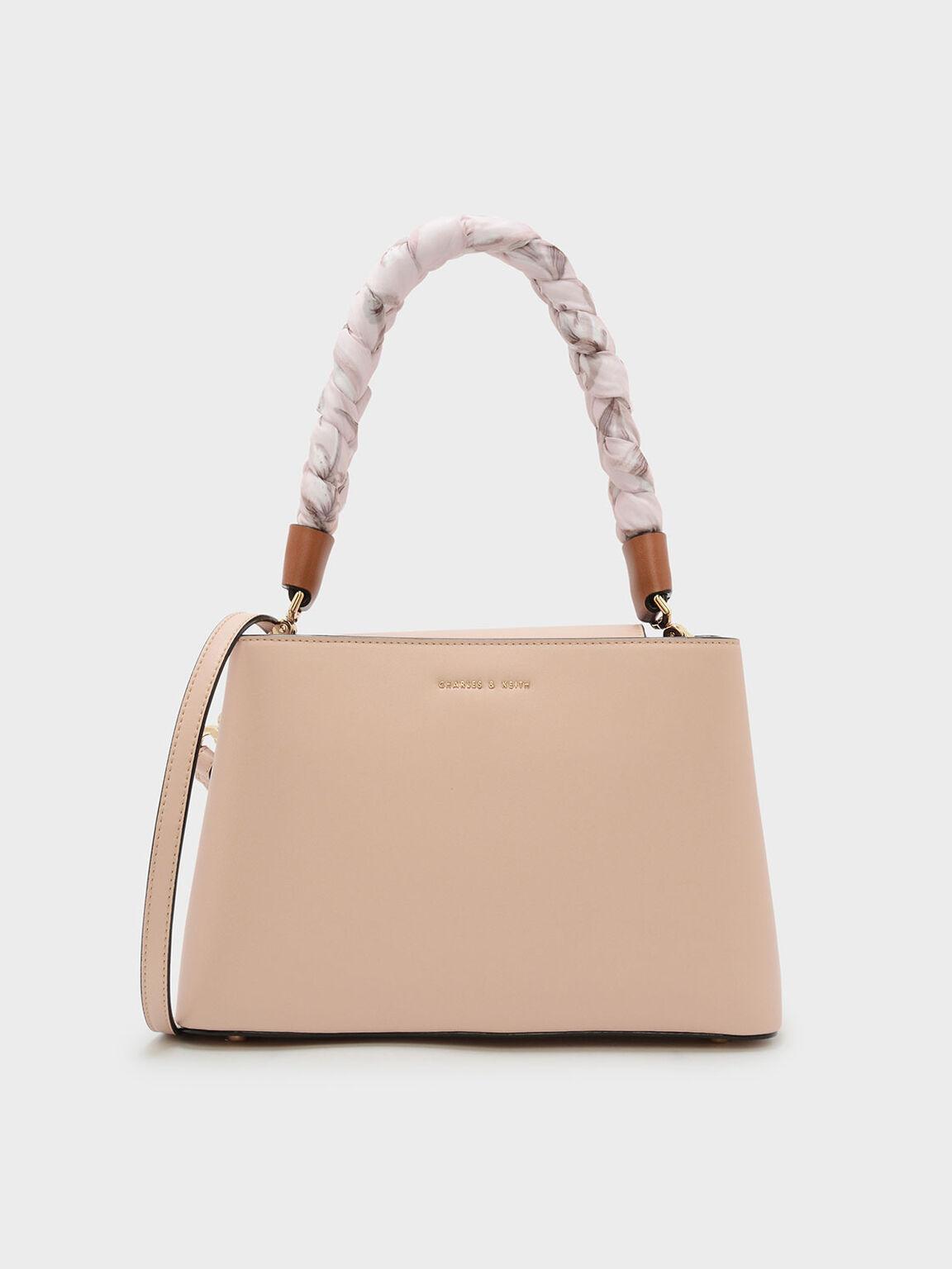 Scarf Wrapped Handle Handbag, Beige, hi-res