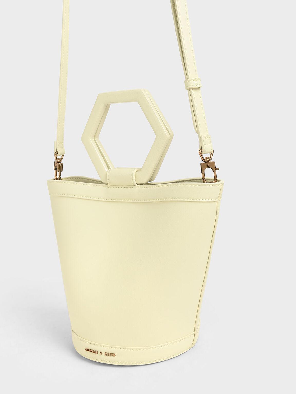 Geometric Handle Bucket Bag, Yellow, hi-res