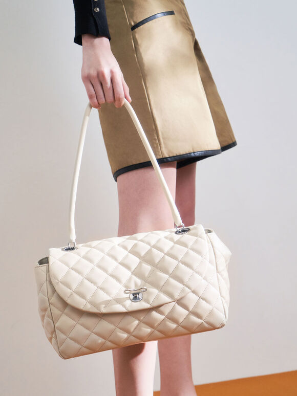 Chain Link Quilted Top Handle Bag, Cream, hi-res
