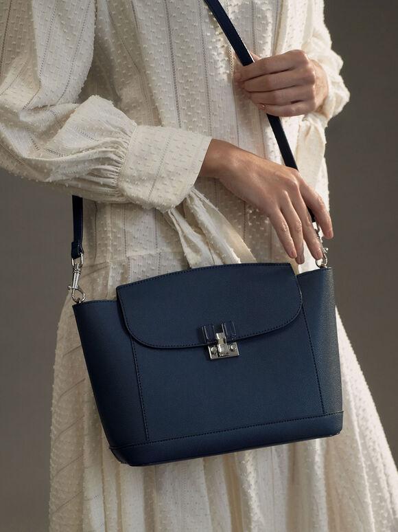 Embellished Push-Lock Shoulder Bag, Blue, hi-res