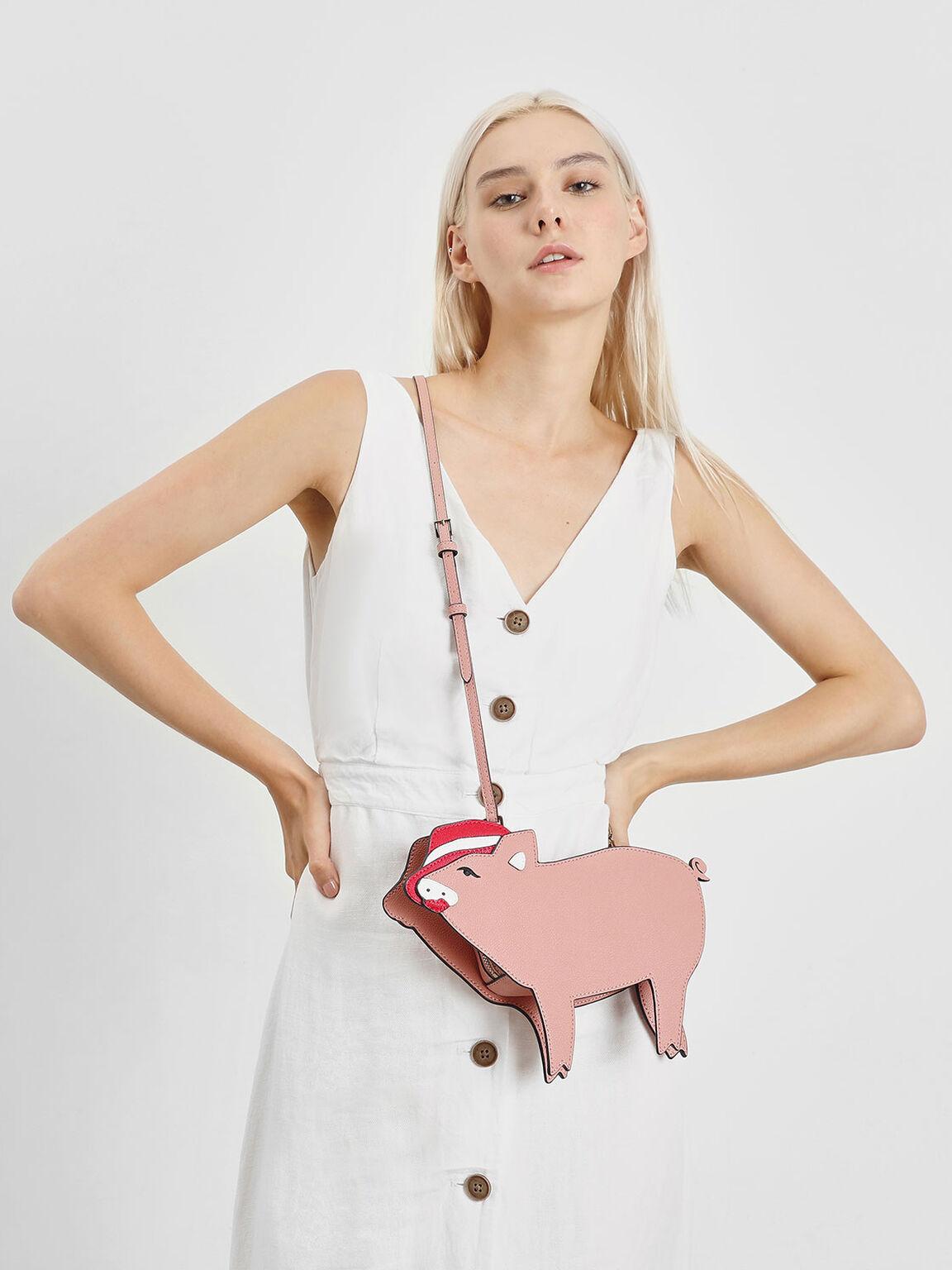 Zodiac Pig Crossbody Bag, Pink, hi-res