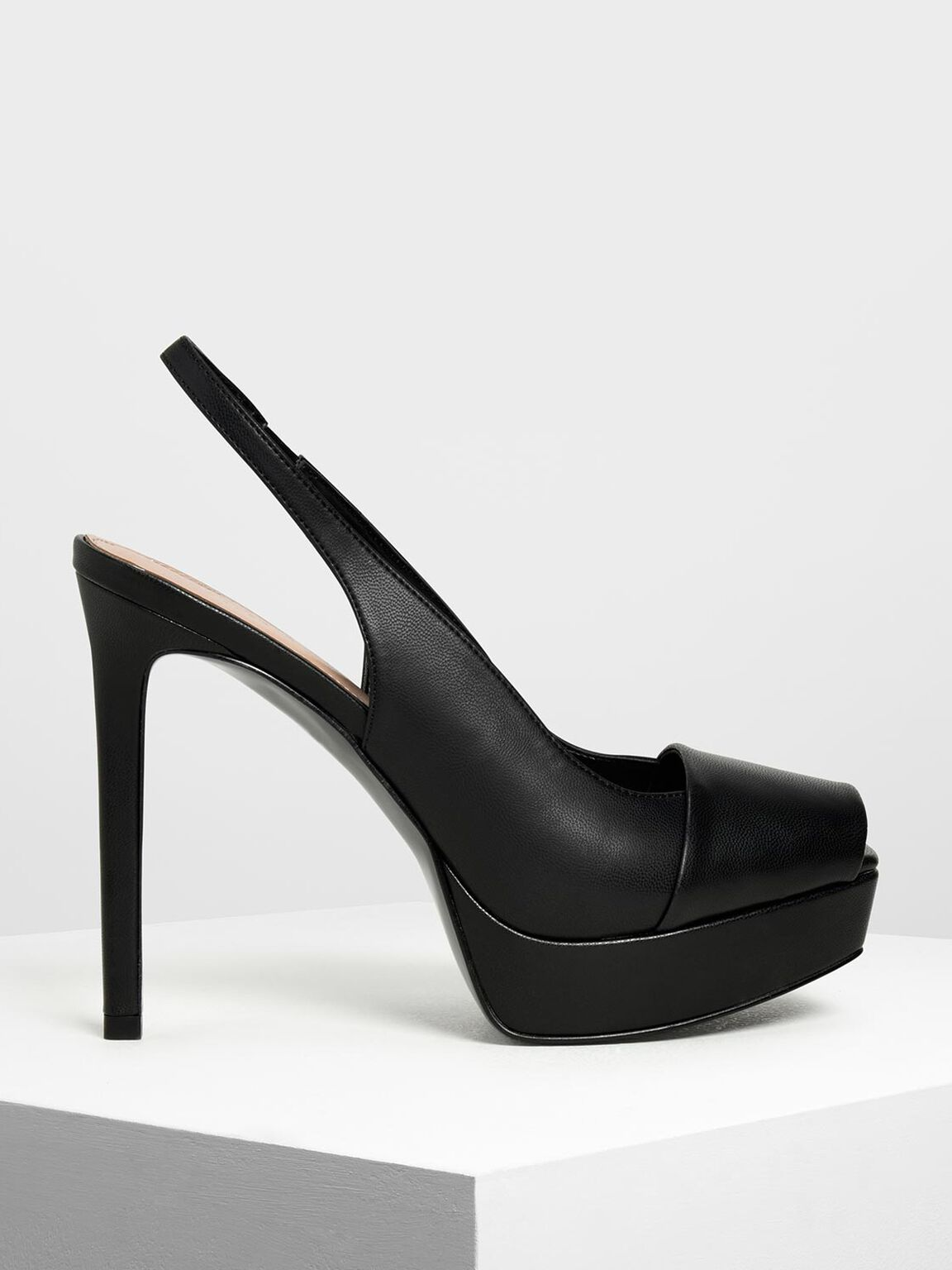 Square Toe Platform Heels, Black, hi-res