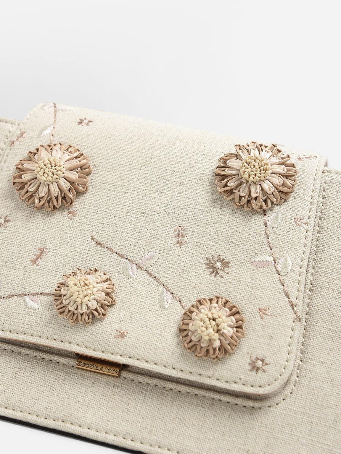 Raffia Floral Crossbody Bag, Taupe, hi-res