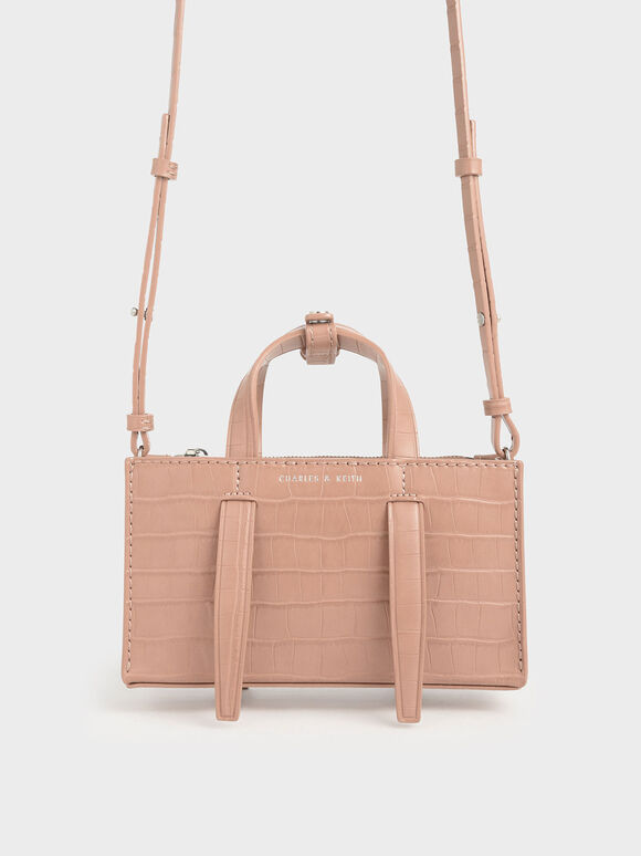 Croc-Effect Double Top Handle Bag, Blush, hi-res