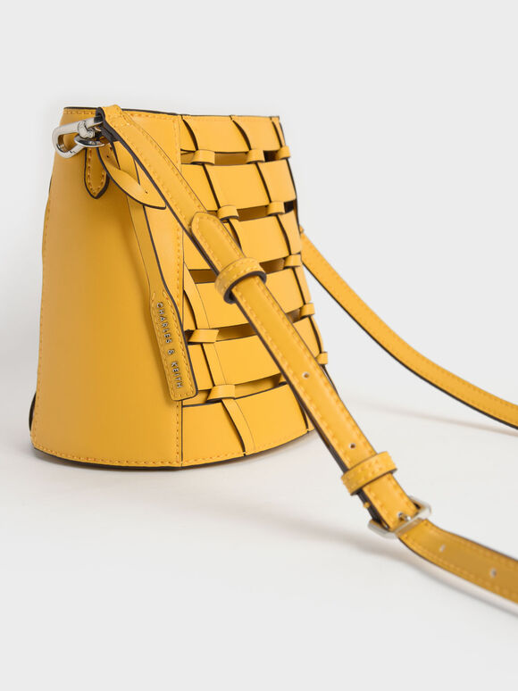 Braided Bucket Bag, Yellow, hi-res