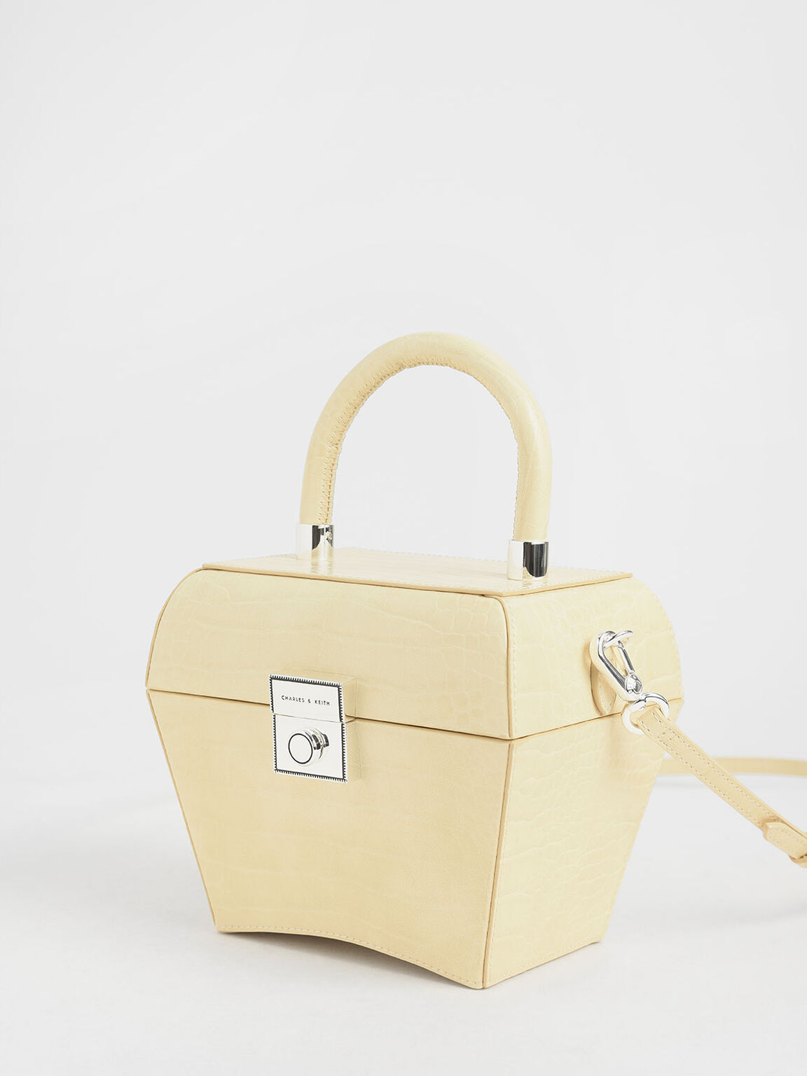 Croc-Effect Sculptural Bag, Yellow, hi-res