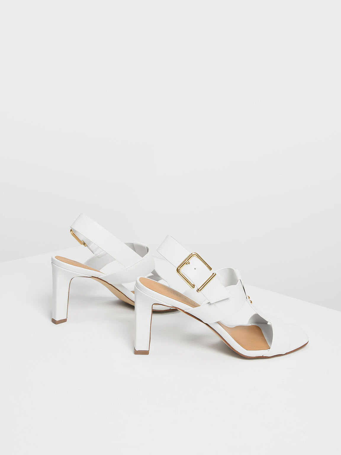 T-Bar Slingback Heels, White, hi-res
