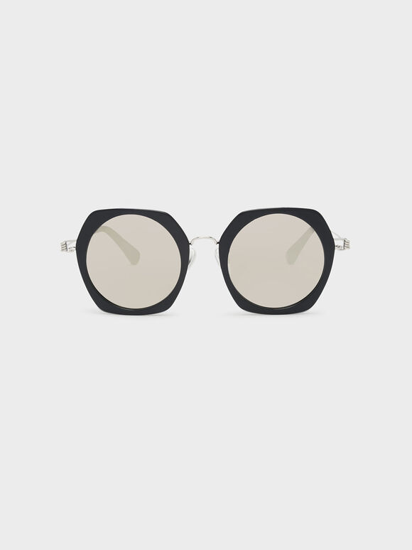 Geometric Frame Sunglasses, Black, hi-res