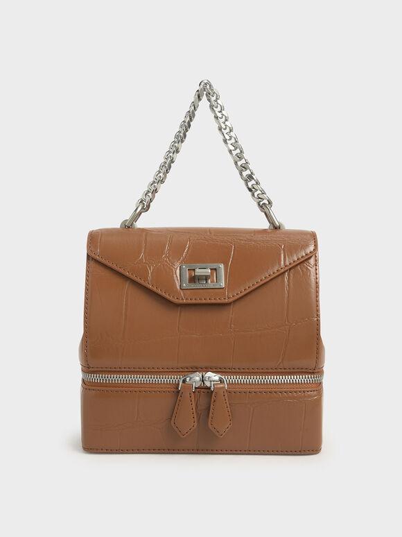 鍊條拉鍊手提包, 土黃色, hi-res