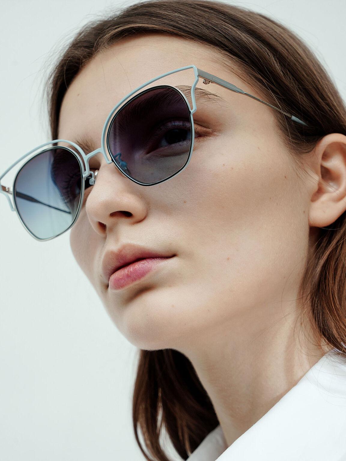Cut-Out Tinted Sunglasses, Blue, hi-res