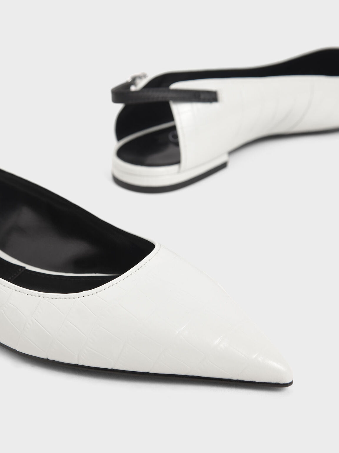 Croc-Effect Leather Ballerina Flats, White, hi-res