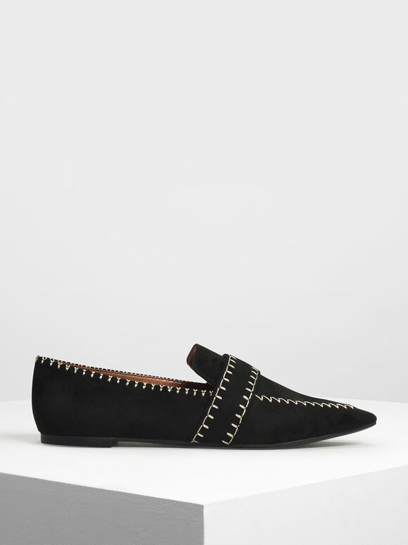 Stitch Detail Loafers, Black, hi-res