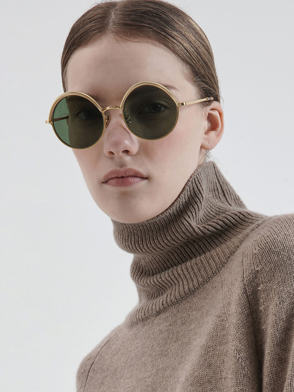 Half Rim Round Sunglasses, Olive, hi-res