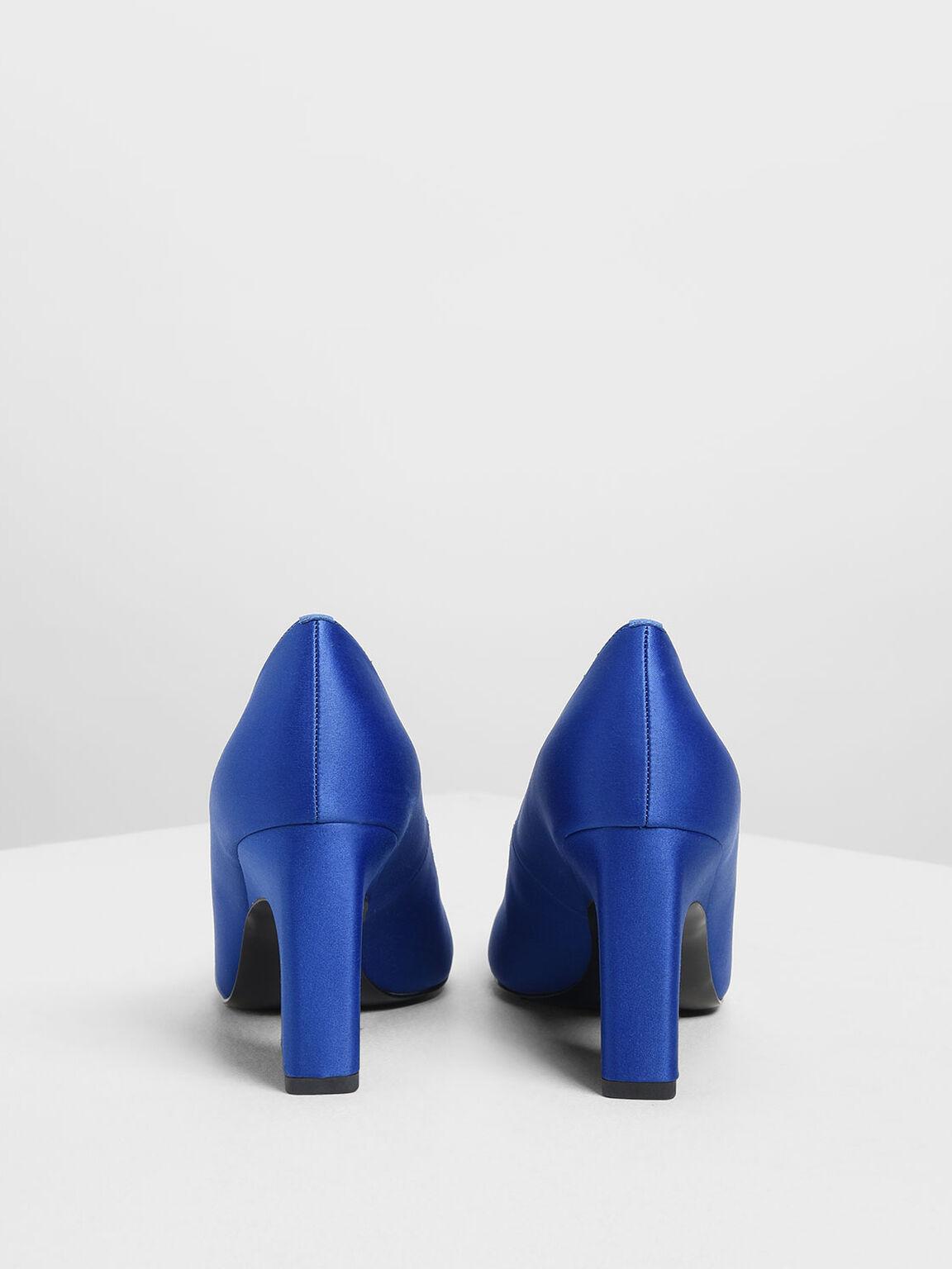 緞面經典高跟鞋, 藍色, hi-res