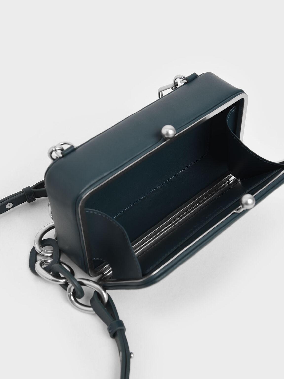 Boxy Twist Lock Crossbody Bag, Teal, hi-res