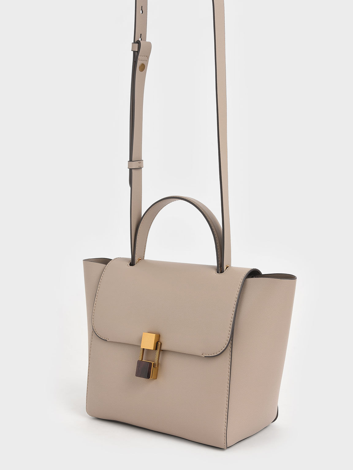 Stone-Embellished Trapeze Bag, Taupe, hi-res