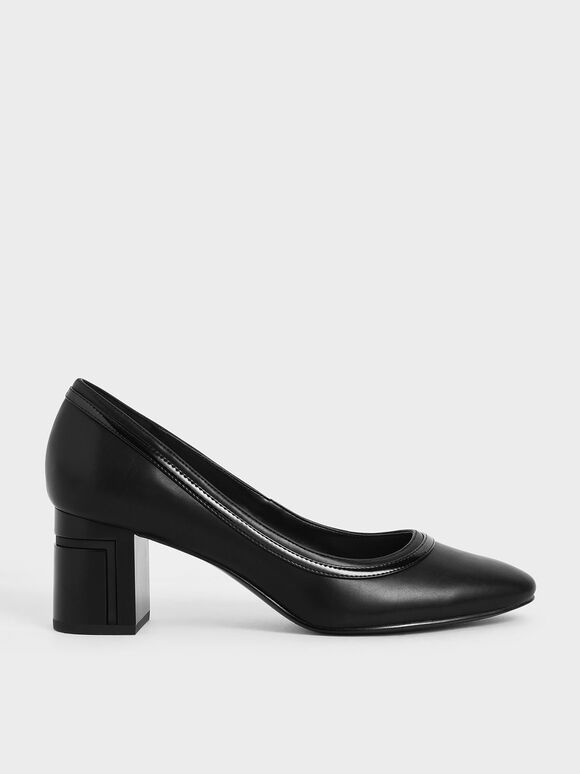 Round Toe Block Heel Pumps, Black, hi-res