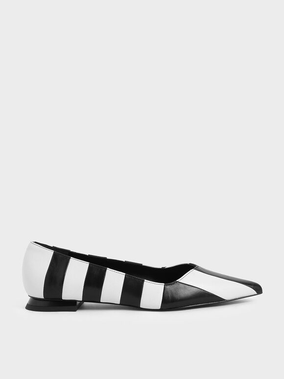 Two-Tone Leather Striped Ballerina Flats, Multi, hi-res