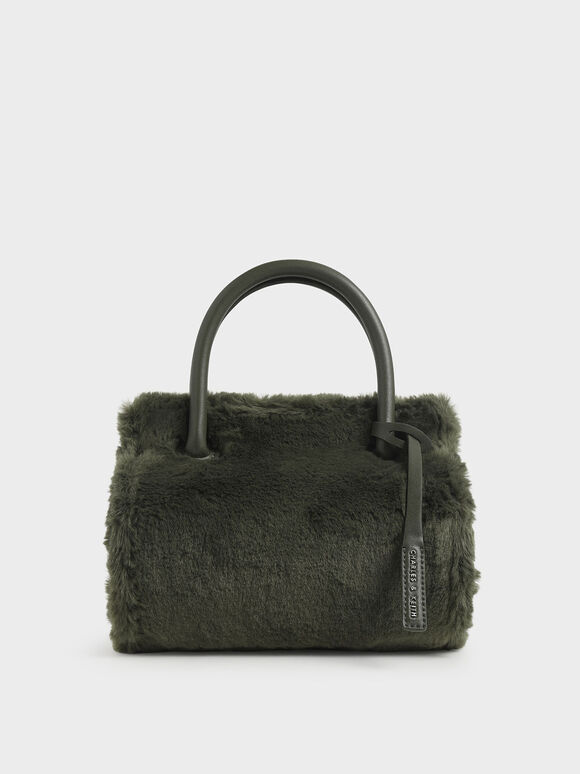 Textured Double Top Handle Bag, Olive, hi-res