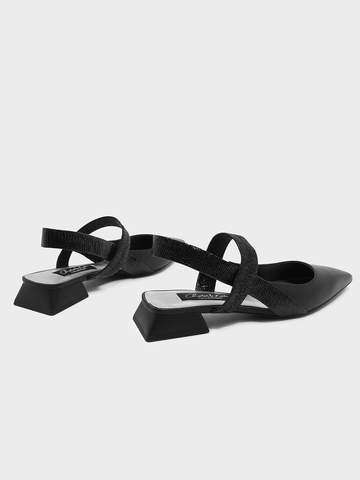 Mary Jane Leather Slingback Sandals, Black, hi-res