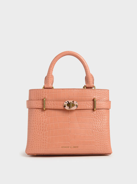 Croc-Effect Turn-Lock Tote Bag, Peach, hi-res