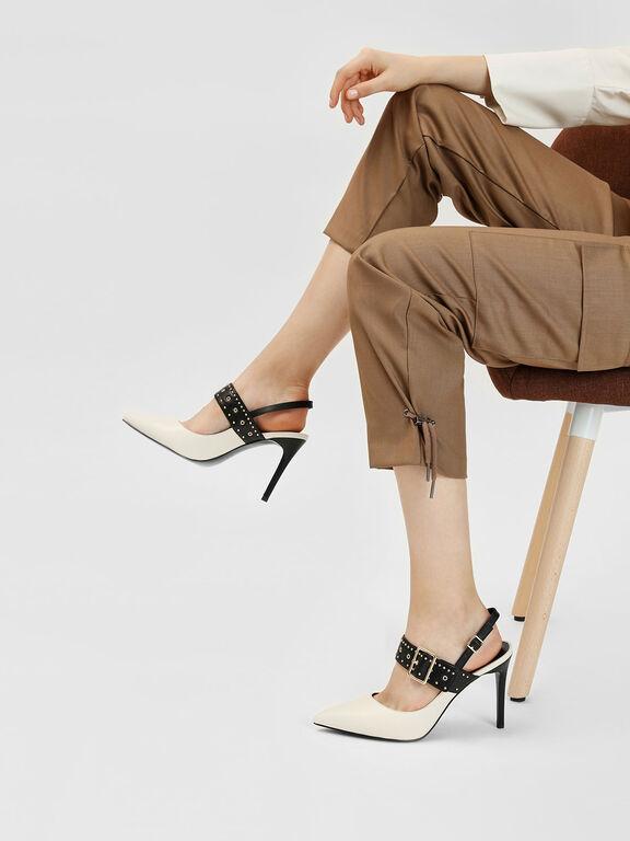Studded Slingback Heels, Chalk
