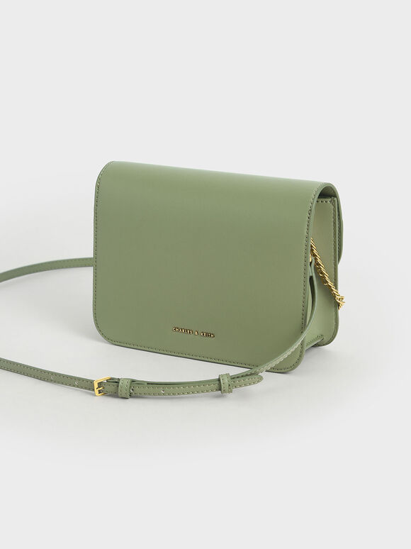 Metallic Accent Chain Handle Bag, Sage Green, hi-res