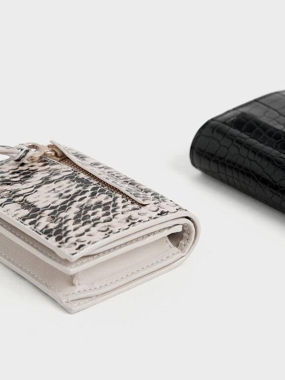Snake Print Front Zip Card Holder, Cream, hi-res