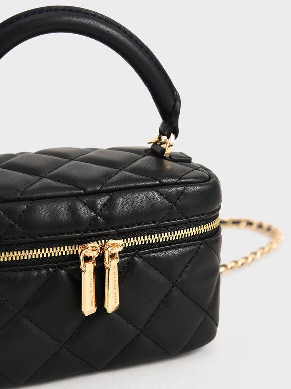 Two-Way Zip Quilted Bag, Black, hi-res