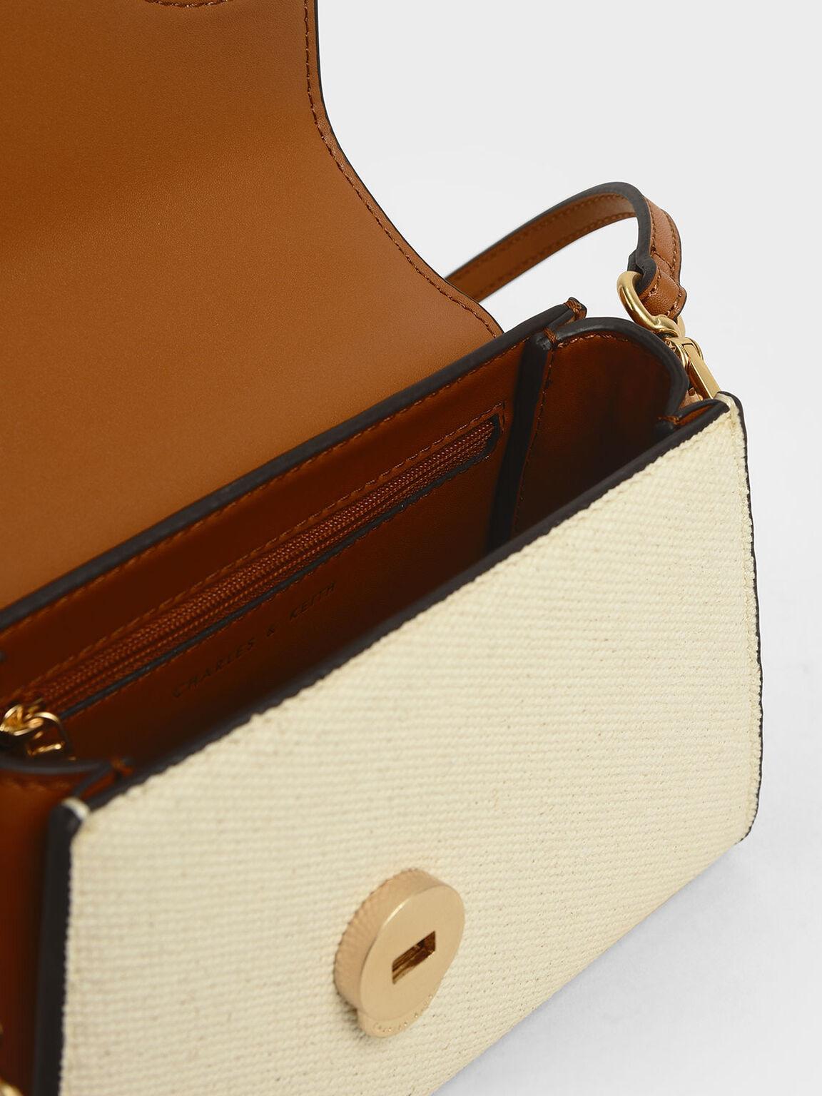 Two-Tone Angular Flap Bag, Cognac, hi-res