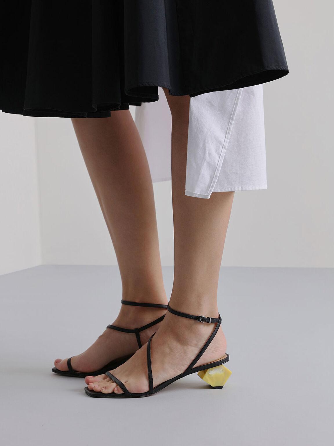 Leather Sculptural Heel Sandals, Black, hi-res