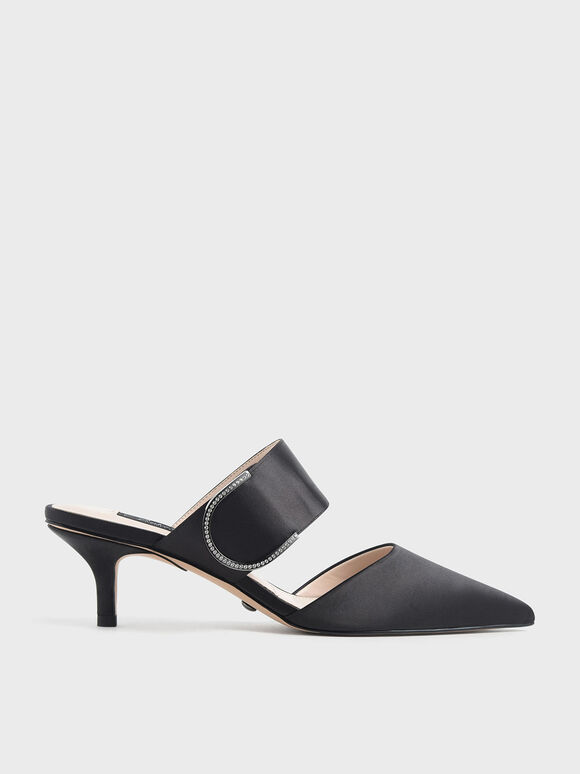 Satin Gem Encrusted Mules, Black Textured, hi-res