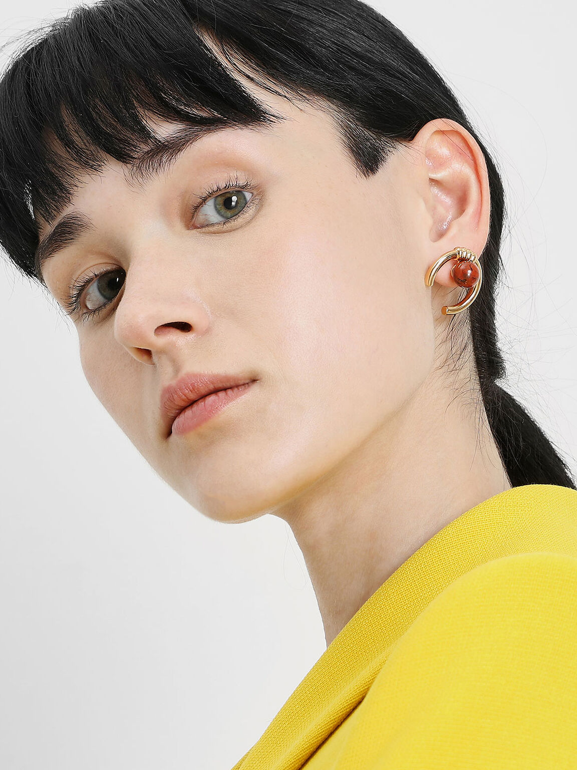 Jasper Stone Stud Earrings, Gold, hi-res