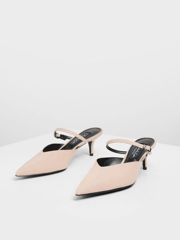 Patent Leather Mary Jane Kitten Heel Mules, Nude
