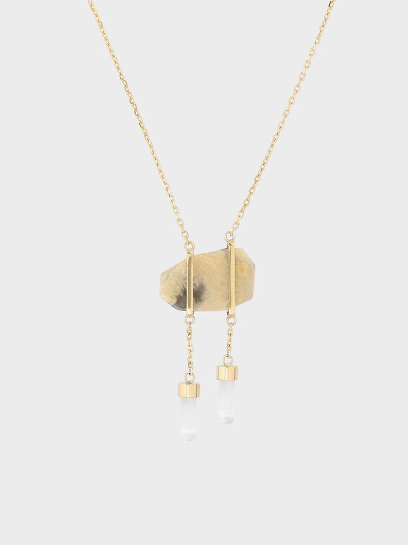 Crazy Agate Stone Necklace, Gold, hi-res