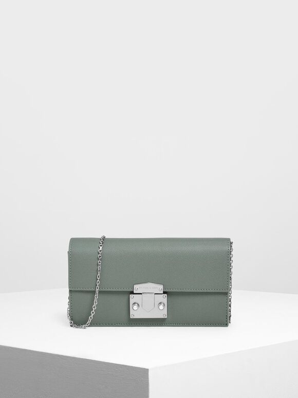 Metallic Push Lock Long Wallet, Moss, hi-res